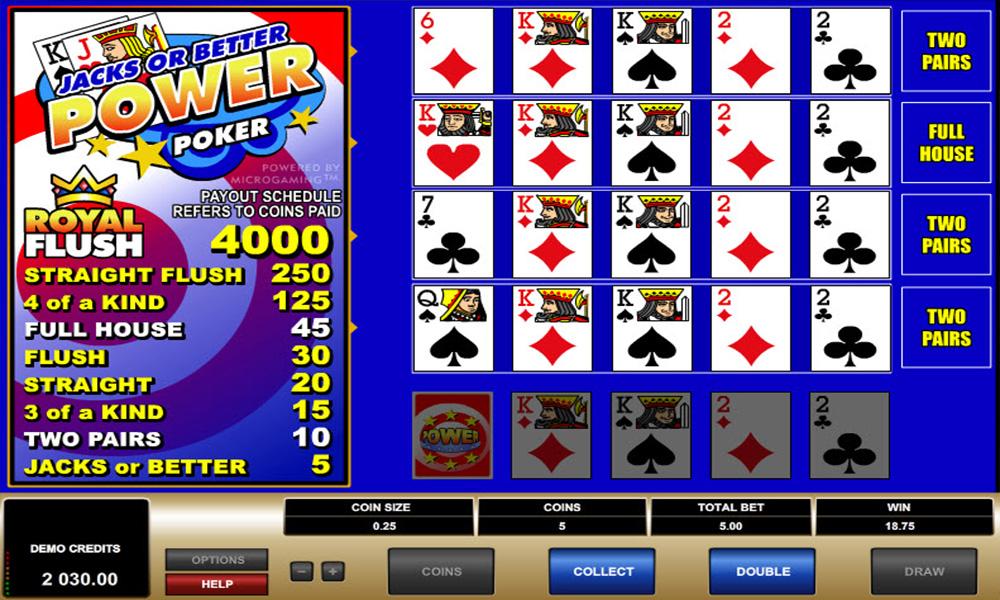 jacks or better power poker casino