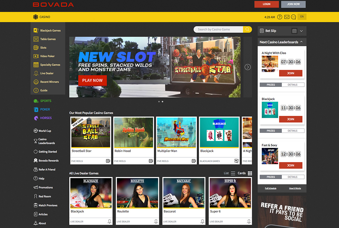 Bovada Casino Review - Facts, Ratings, Games & Player Signup