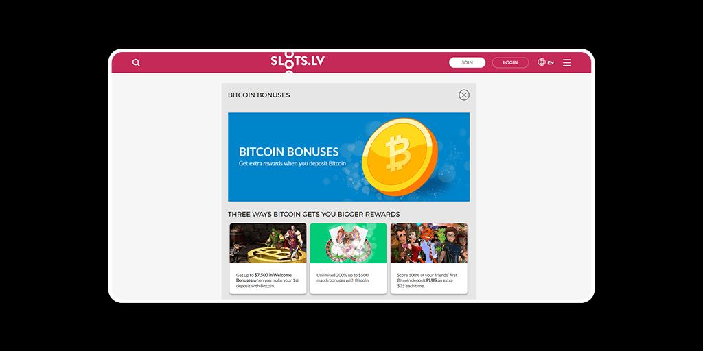SlotsLV Casino Crypto Bonuses