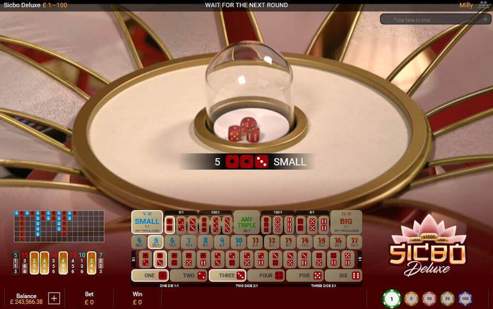 Sic Bo Deluxe Win Small Bet