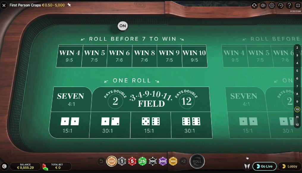 Play First Person Craps Evolution Live