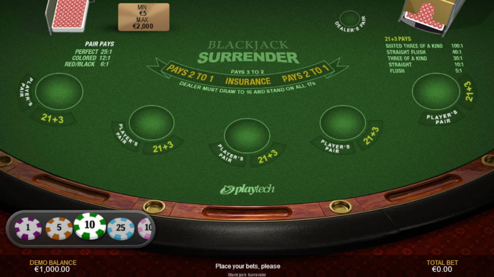 Free Blackjack Surrender Playtech